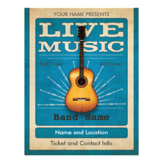 Live Music Acoustic Guitar Flyer Blue
