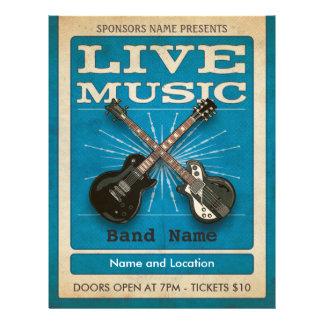 Live Music Dual Guitar Flyer Blue