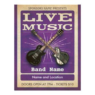 Live Music Dual Guitar Flyer Purple