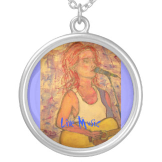 Live Music Girl Round Pendant Necklace