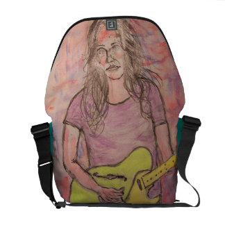 Live Music Girl Sketch Messenger Bags