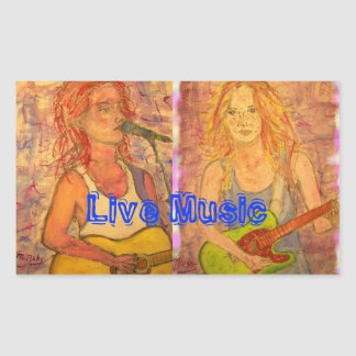Live Music Guitar Girls Rectangular Sticker