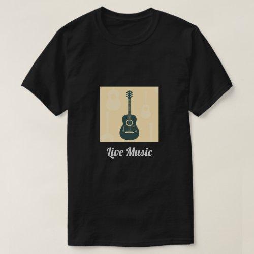 Live Music slogan Retro guitar acoustic music T_Shirt