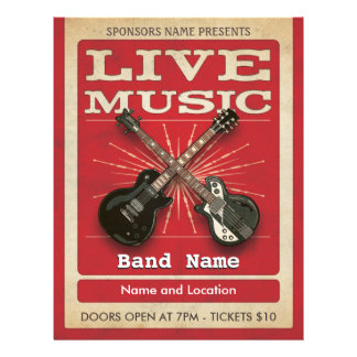Live Music Two Guitar Flyer Red