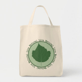 Live Natural Green Leaf Organic Tote Bag