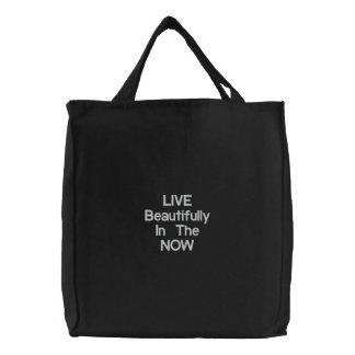 LIVE NOW handbag Embroidered Tote Bag