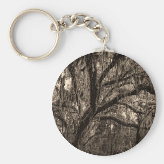 Live Oak and Spanish Moss in Sepia Tones Keychain