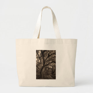 Live Oak and Spanish Moss in Sepia Tones Large Tote Bag