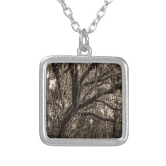 Live Oak and Spanish Moss in Sepia Tones Silver Plated Necklace