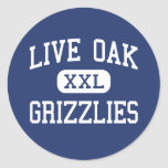 Live Oak Grizzlies Middle Tulare California Round Stickers