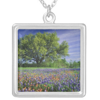 Live Oak & Texas Paintbrush, and Texas Silver Plated Necklace
