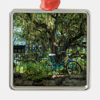 Live Oak Tree and Classic Bicycle Metal Ornament
