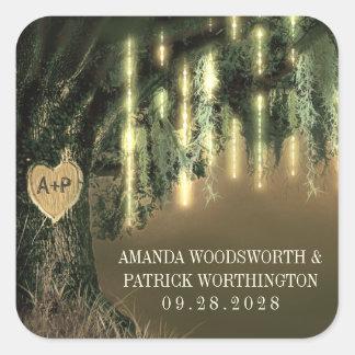 Live Oak Tree Spanish Moss Wedding Favor Stickers