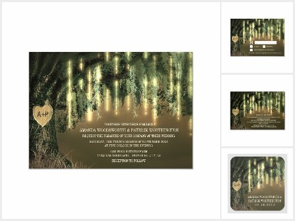 Live Oak Tree Spanish Moss Wedding Invitations Set