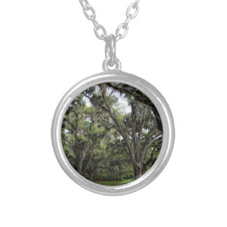 Live Oak Tree With Spanish Moss Silver Plated Necklace
