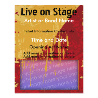 Live on Stage Red and Tan Music Flyer
