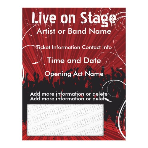 Live on Stage Red Music Flyer flyer