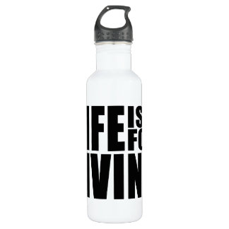 Live Positive Mantra Quote : Life is for Living Water Bottle