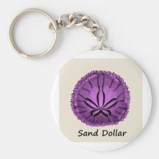 Live Purple Sand Dollar Key Chain