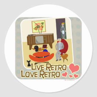 Live Retro Love Retro Slogan Classic Round Sticker