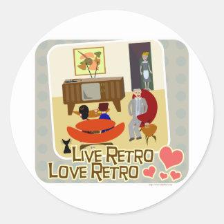 Live Retro Love Retro Slogan Classic Round Sticker