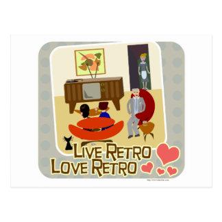 Live Retro Love Retro Slogan Postcards