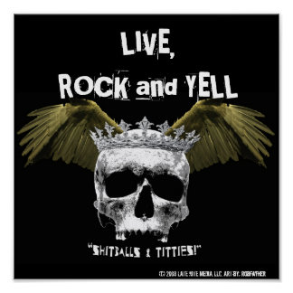 LIVE, ROCK and YELL - SKULL & WINGS POSTER