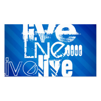 Live; Royal Blue Stripes Double-Sided Standard Business Cards (Pack Of 100)