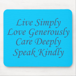 Live Simply blue Mouse Pad