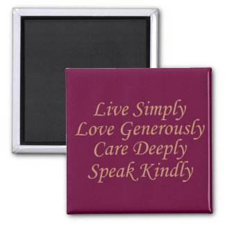 Live Simply cream 2 Inch Square Magnet