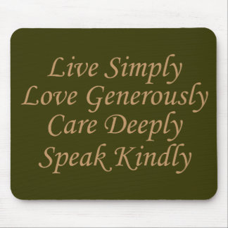 Live Simply cream Mouse Pad
