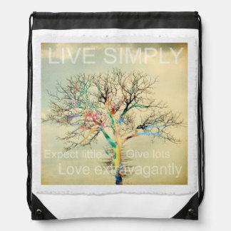 Live Simply Drawstring Bag