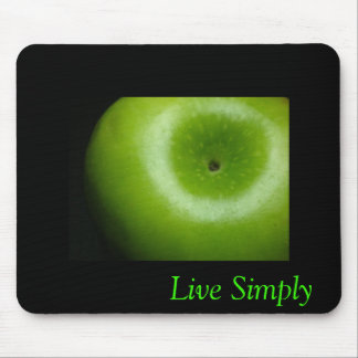 Live Simply - Green Apple Mouse Pad