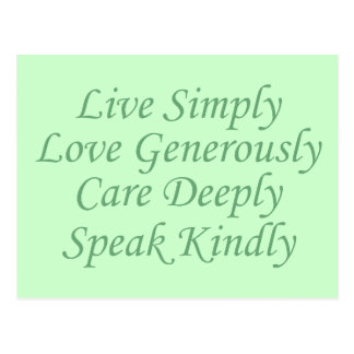 Live Simply green Postcard