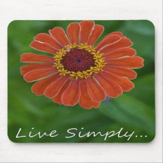 Live Simply Orange Zinnia Flower mousepad