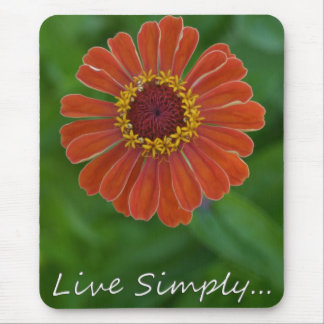 Live Simply Orange Zinnia Flower mousepad