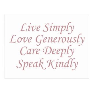 Live Simply pink Postcard