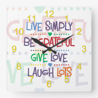 Live Simply Square Wall Clock