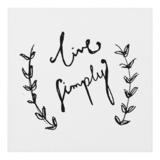 Cursive art framed artwork zazzle for Live simply wall art