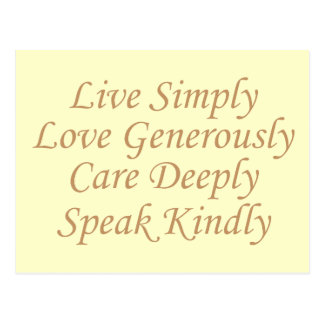 Live Simply yellow Postcard