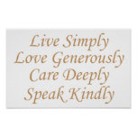 Live Simply yellow Poster