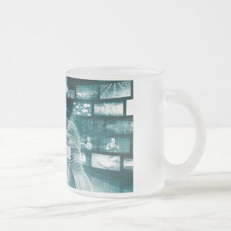 Live Streaming Content Entertainment with Audience Frosted Glass Coffee Mug