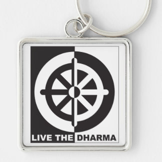 Live the Dharma Silver-Colored Square Keychain