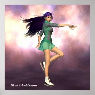 Live The Dream Girl Ice Skater Poster