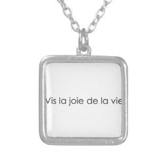 Live the joy of life! square pendant necklace