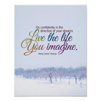 Live The Life You Imagine Motivational Quote Poster