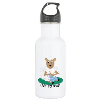 Live To Knit 18oz Water Bottle