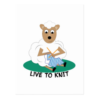Live To Knit Postcard
