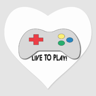 Live To Play Heart Sticker
