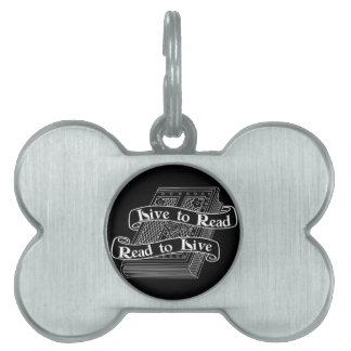 Live to Read Pet Name Tag